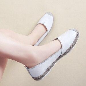 Image 3 - STQ 2020 sonbahar kadın Flats hakiki deri ayakkabı üzerinde kayma loafer ayakkabılar kadın balerin bale daireler büyükanne mokasen 952