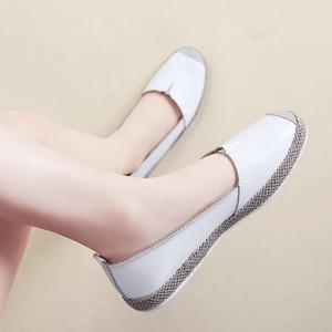 Image 3 - STQ zapatos planos de piel auténtica para mujer, mocasines sin cordones, Ballet, bailarina, abuela, otoño 2020