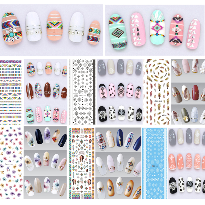 Art-Sticker Flowers Water-Decals 3d-Decorations Manicure Colorful DIY for Nail-Tips 3pcs