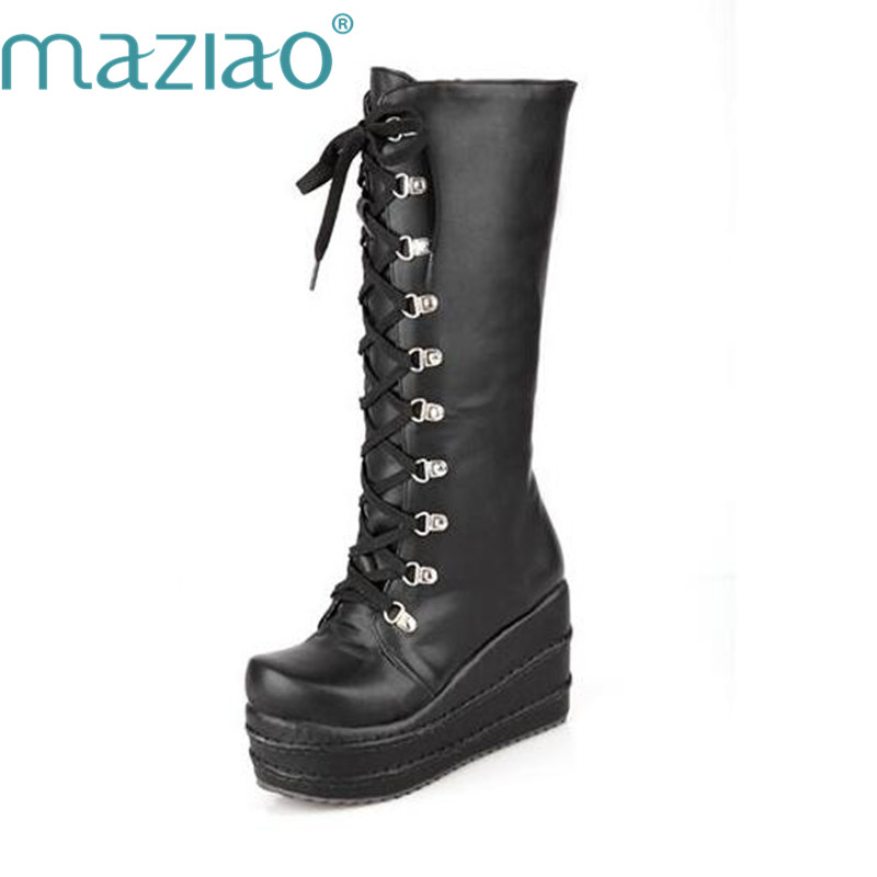 MAZIAO New Motorcycle Boots Gothic Punk Shoes Cosplay Boots Knee High Heel Platform Sexy Zip Winter Wedges Knee High Boots scoyco motorcycle riding knee protector extreme sports knee pads bycle cycling bike racing tactal skate protective ear