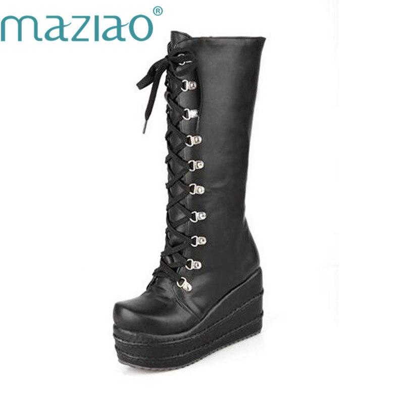 0a8add05bd33bf MAZIAO Nouvelle Moto Bottes Gothique Punk Chaussures Cosplay Bottes Genou Haut  Talon Plate Forme Sexy Zip Hiver Coins Cuissardes dans Bottes mi-mollets de  ...