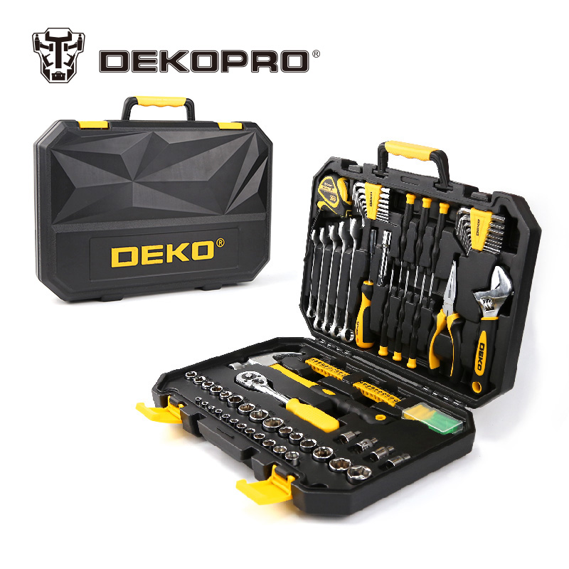 DEKOPRO 128 Pcs Hand Tool Set General Household Hand Tool Kit with Plastic Toolbox Storage Case Socket Wrench Screwdriver Knife workpro 18 in 1 magnetic screwdriver tool set hand tool kit with rack workshop master