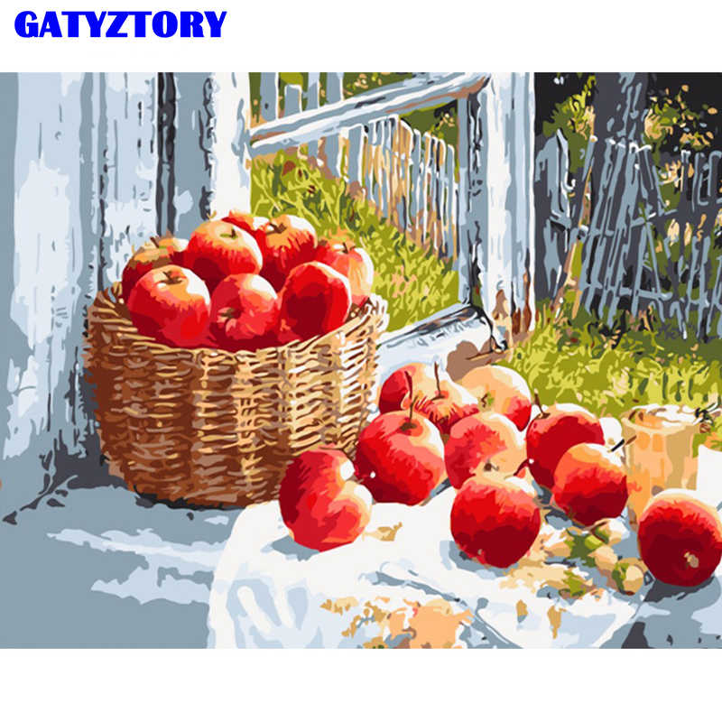 GATYZTORY Fruit Frame Diy Painting By Numbers Kit Modern Wall Art Handpainted Oil Painting Picture By Numbers For Home Decor Art