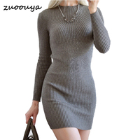 Fashion Knitted Sweater Dress Women Solid Turtleneck Long Sweater Bodycon Slim Pencil Dress Elastic Slim Medium