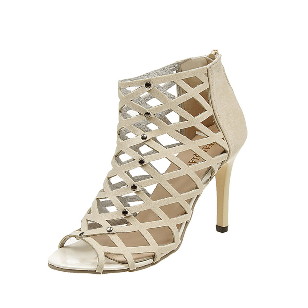 SAGACE 2018 Girls Gladiator Roman Summer Women Sandals Rivet Studded Cut Out Caged Ankle Boots Stiletto High Heel Shoes WomanSAGACE 2018 Girls Gladiator Roman Summer Women Sandals Rivet Studded Cut Out Caged Ankle Boots Stiletto High Heel Shoes Woman