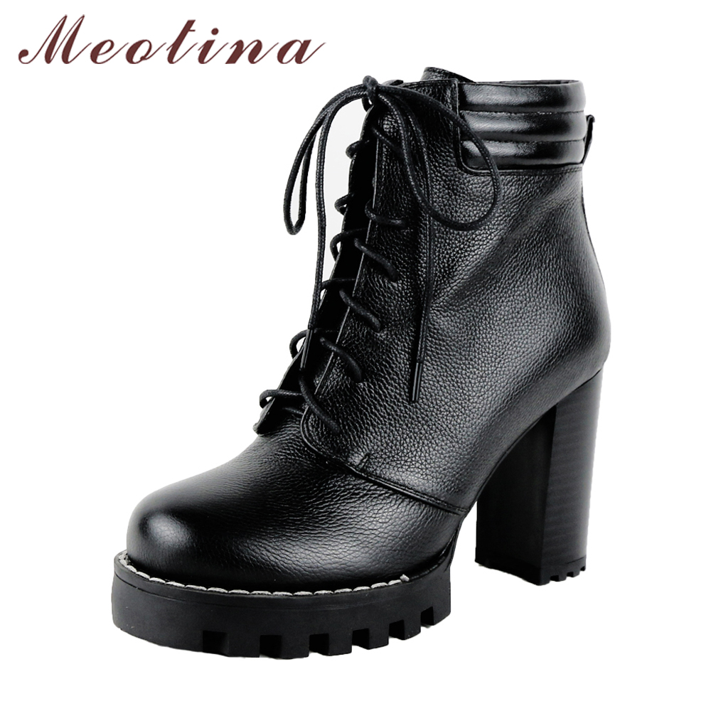 Meotina Genuine Leather Boots Women Winter Platform High Heel Motorcycle Boots Lace Up Thick Heel Ankle Boots Autumn Shoes Black sfzb new square toe lace up genuine leather solid nude women ankle boots thick heel brand women shoes causal motorcycles boot