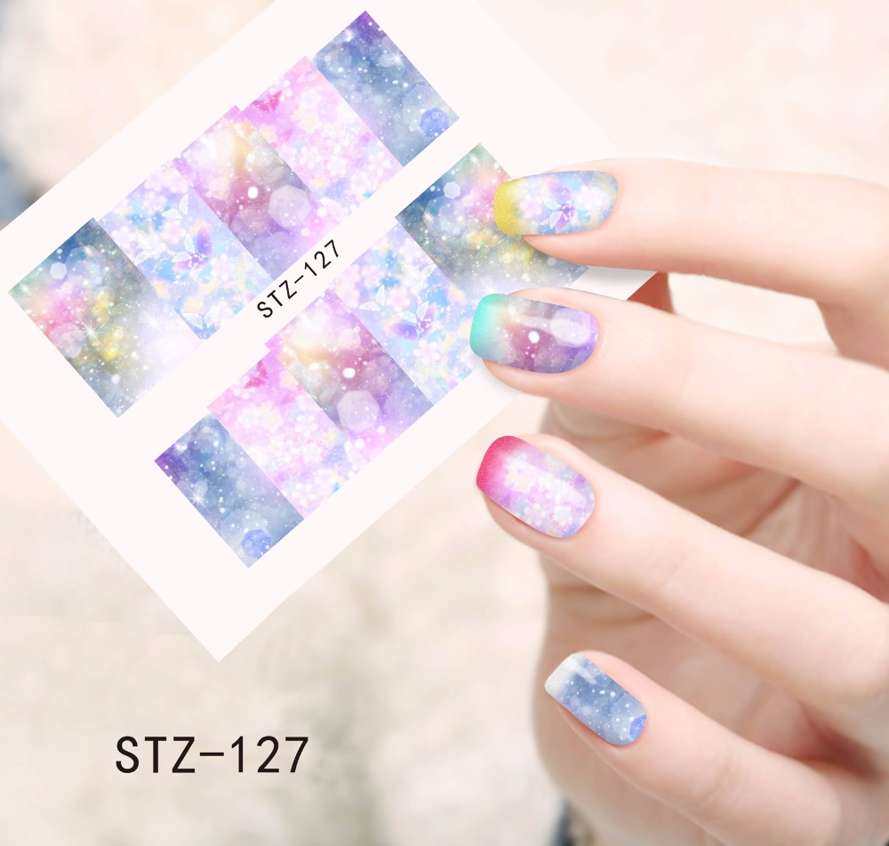 1pc  New Full Cover Stickers Nail Art Tips Water Transfer Decorations Nail Decals Manicure Accessory SASTZ127 2016 2sheets manicure tips beauty purples oil printing 3d diy designs nail art water transfer stickers decals full cover xf1405