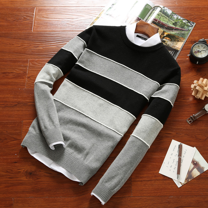 Mens Sweater Slim O-Neck Sweater Stripe Thin Knitwear Male Casual Pullover Sweaters Clothes  Christmas Sweater Man