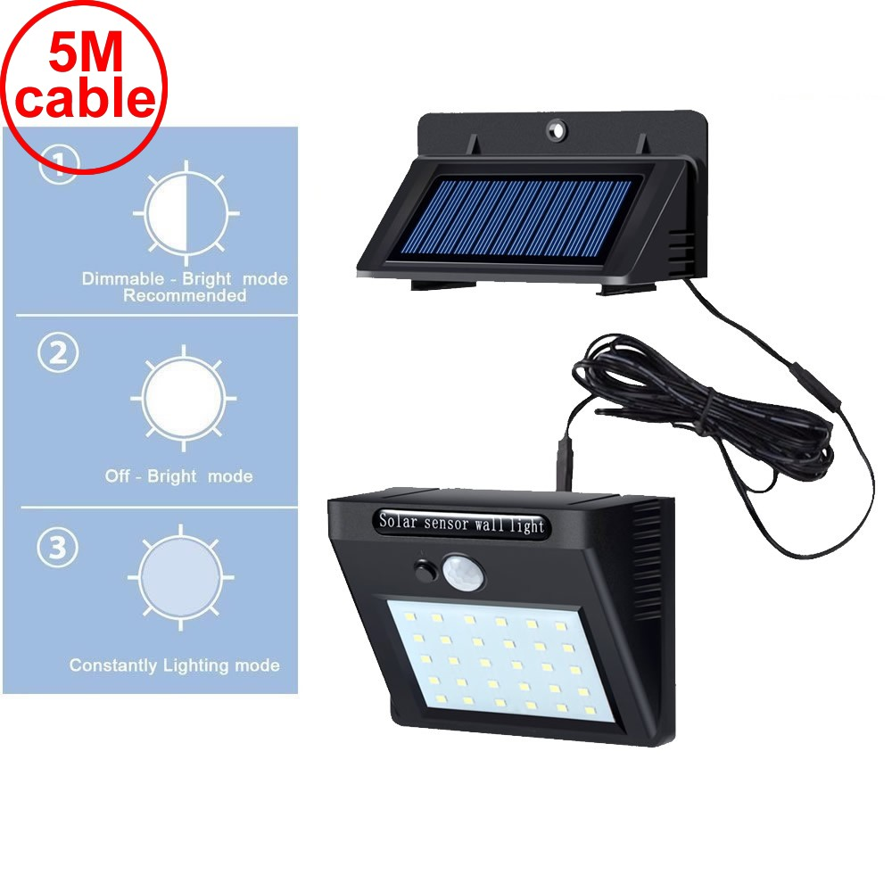 30 led 500lm solar light split mount pIR motion 3 sensor 2019 Path Lights New Sola I street wall indoor lamp bulb strings for p