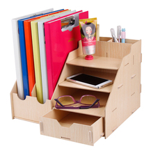 Creative DIY Wooden Assemble Desktop Storage Box Office File Stationery Organizer Case Cosmetic Makeup Container Box