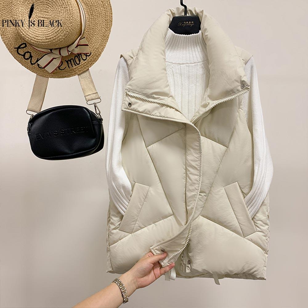 PinkyIsBlack Stand Collar Women Winter Vests 2019 New Short Vest Cotton Padded Jacket Sleeveless Female Hooded Waistcoat Vest