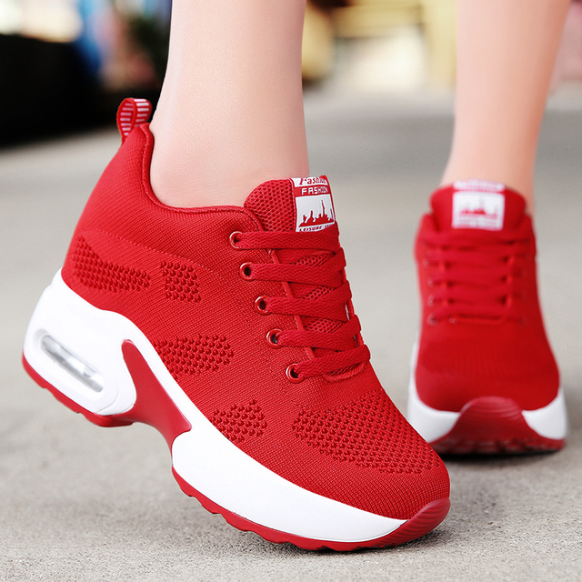WADNASO Flying Knitting Fashion Sneakers Women Hide Heels Casual Shoes Breathable Platform Sneakers Wedge White Shoes XZ120