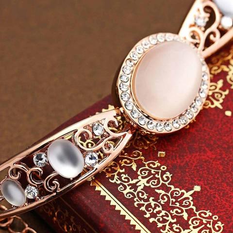 Neoglory Austria Rhinestone & Opal Bangle Rose Gold Color Exquisite Oval Design Vintage Style Women Palace Bracelet Sale Gift Islamabad