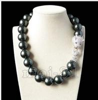 A Genuine Selling 16mm South Shell baroque peacock BLACK shell pearl necklace Jewelry Beads 925 silver wedding Women Gift