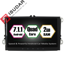 7.1.1 Dois Din Android 9 de Polegada Carro DVD GPS Video Player Para VW/Volkswagen/POLO/PASSAT/Golf/Skoda/Octavia/Seat/Leon 2G RAM Rádio