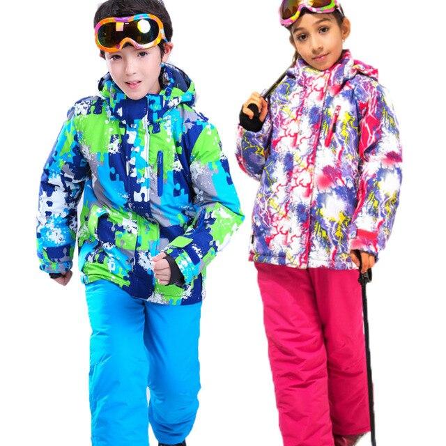 86813bdf21 Dziewcząt i chłopców wodoodporny kombinezon narciarski dla dzieci kurtka  narciarska i spodnie dla dzieci śnieg wiatroszczelna