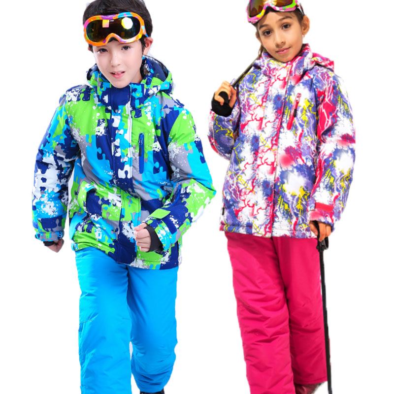 Girls Or Boys Waterproof Ski Suit Kids Ski Jacket And Children Pants Snow Windproof Warmth Thickened Winter Clothes Safety Clothing 30 Degree