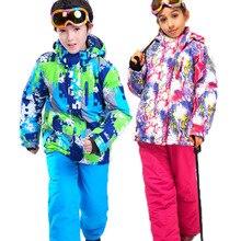 Mädchen oder Jungen Wasserdicht Skianzug Kinder Ski Jacke und Kinder Hosen Schnee Winddicht Wärme Verdickt Winter Kleidung-30 grad