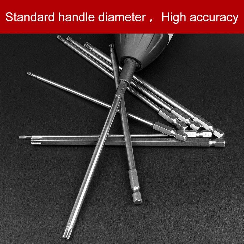 8Pcs 8 Sizes Electric 150mm Long 1/4 Inch Hex Shank Magnetic Torx Screwdriver Bits Set T9 T10 T15 T20 T25 T27 T30 T40 t27 4 5x1 8x7 8 pipe cut a24t