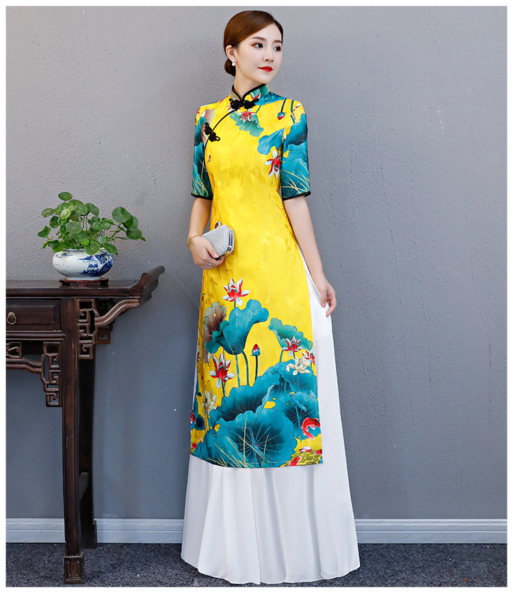 Chinese Style Elegant Lady Print Floral Cheongsam Large Size 3XL 4XL 5XL Stage Show Qipao Retro