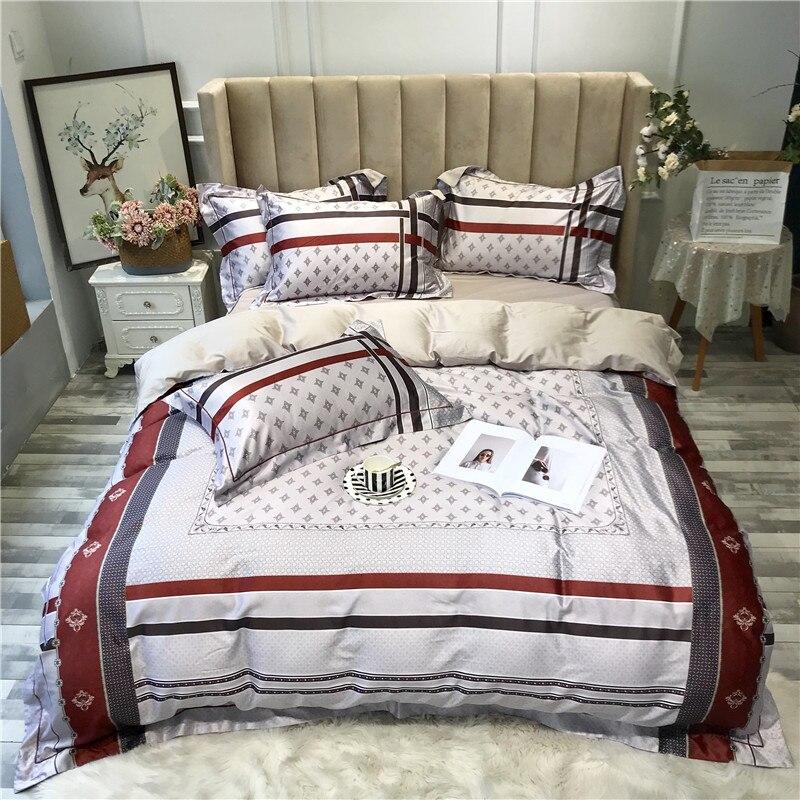 Luxe satin ensemble De Literie Reine King Size 4 pièces Housse de Couette à rayures imprimé Linge De Lit Couverture De lit taie d'oreiller
