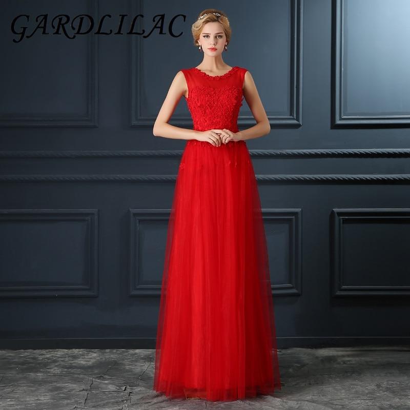 Gardlilac Tulle Applique Red Long   Bridesmaid     Dress   Floor-Length Beading Wedding Party   Dress   A-Line   Bridesmaid     Dress