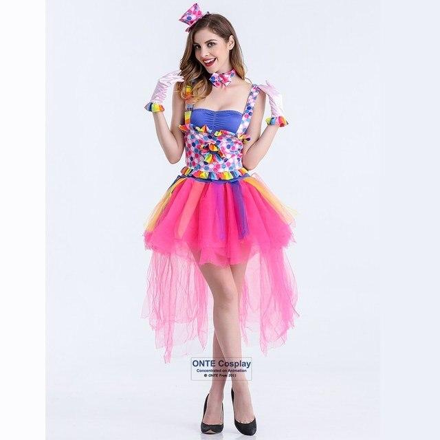Circo Cosplay disfraces mujeres payaso entrenador fantasía bruja vestido  rosa conjunto completo conjunto para la fiesta 35da3d45bcd