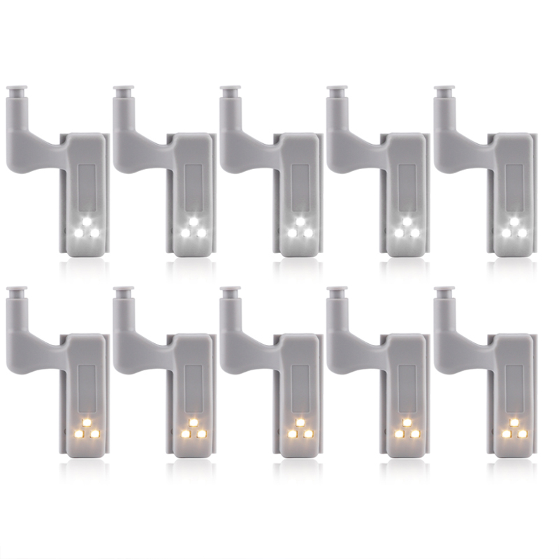 Universal Furniture Cupboard Cabinet Wardrobe Hinge Led Lamp Night Light Door Open Auto ON LED Bulb 10Pcs Save Power