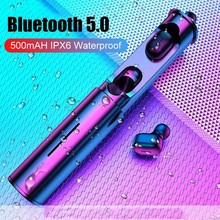 Mini T1 TWS V5.0 Bluetooth Earphone 3D True Wireless Stereo Earbuds With Mic Portable HiFi Deep Bass Sound Cordless Dual Headset 5 0 bluetooth mini 3d stereo sound ouch control hifi earphone with mic sport ipx7 waterproof tws wireless earbuds stereo headset