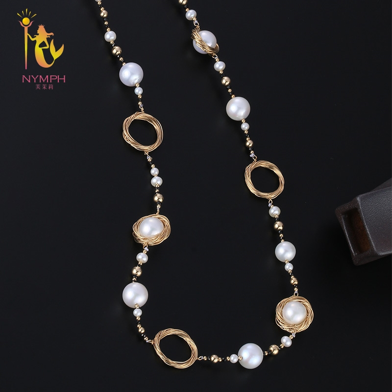 [NYMPH] Long Pearl Necklace Fine Jewelry Natural Pearl Sweater Chain Near Round Luxurious Anniversary Gift X326 [zhixi] freshwater pearl necklace fine jewelry white real pearl necklace near round 7 8mm 45cm anniversary gift for women x118