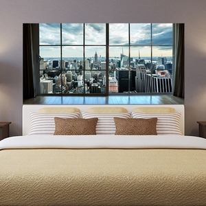 Image 3 - Manhattan New York City Scene City Scape Bedroom TV Wall Sitting Room Background Wall Paper Stickers