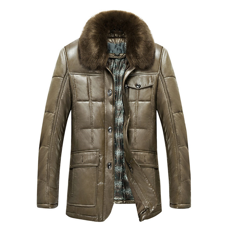 new arrival 2017 brand high quality men's quilted thicken faux leather button up jackets with big fur collar