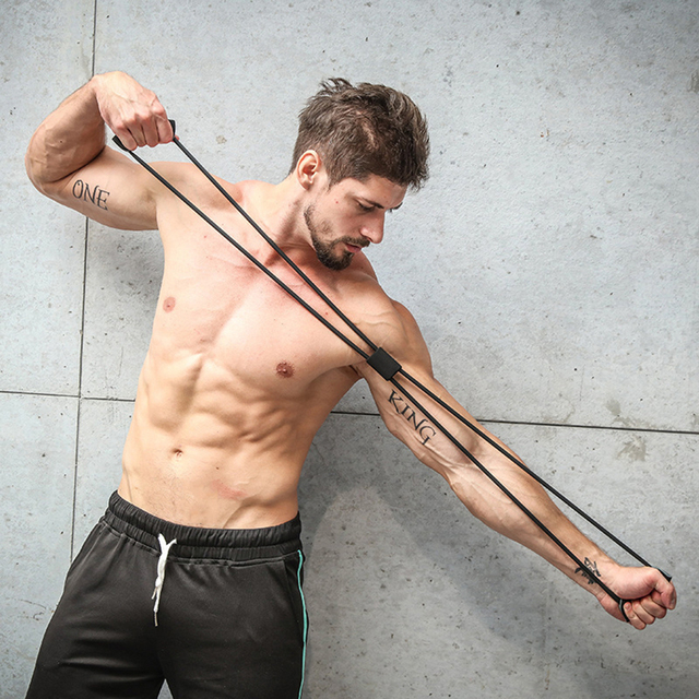 Bandas de resistencia para Yoga, banda elástica, extractor de ejercicios deportivos, expansor de pecho en forma de 8 para construcción de cuerpo, gimnasio en casa, equipo de Fitness 4
