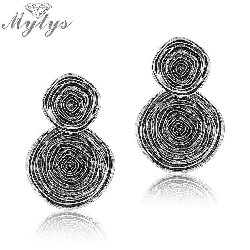 Mytys Thai Silver Double Round Dangle Earrings Black Circle Pattern Geometric Drop Earrings for Women Statement Jewelry CE454 black geometric pattern sleeveless bikini set page 8