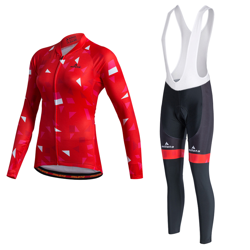 MILOTO Women Winter Invierno Thermal Fleece Cycling Jersey Bib Pants Hombre Ropa Ciclismo Shirt  MTB Long Sleeve Bicycle Clothes teleyi team cycling outfits mens ropa ciclismo long sleeve jersey bib pants kits bicycle jacket trousers set red black