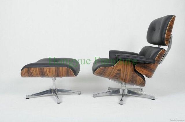 Moderne witte panel lounge stoel met voetenbank in lederen in