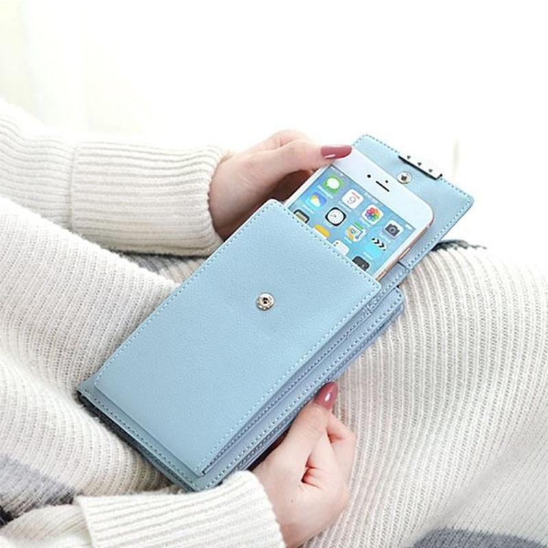 Nuevo estilo de señora mujer Mini bolso de mujer de la carpeta del teléfono caso del todo-fósforo portátil pequeño paquete de cambio monedero