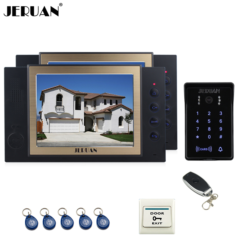 JERUAN 8 inch video doorphone Record intercom system 2 monitor New RFID waterproof Touch Key password keypad Camera 8G SD Card jeruan 7 lcd video door phone record intercom system 3 monitor new rfid waterproof touch key password keypad camera 8g sd card
