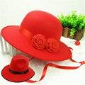 Новые шляпы для женщин мягкая фетровая шерстяные шапки шапочки ретро британский шерсти топпер красная шляпа жених невеста женщина летний стиль