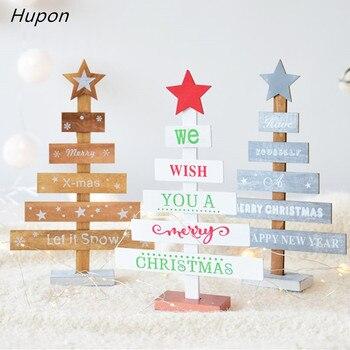 Copo de nieve estrellas 28cm creativa de madera Mini decoración de árbol de Navidad para el hogar adornos gotas decoración de escritorio, Feliz Navidad