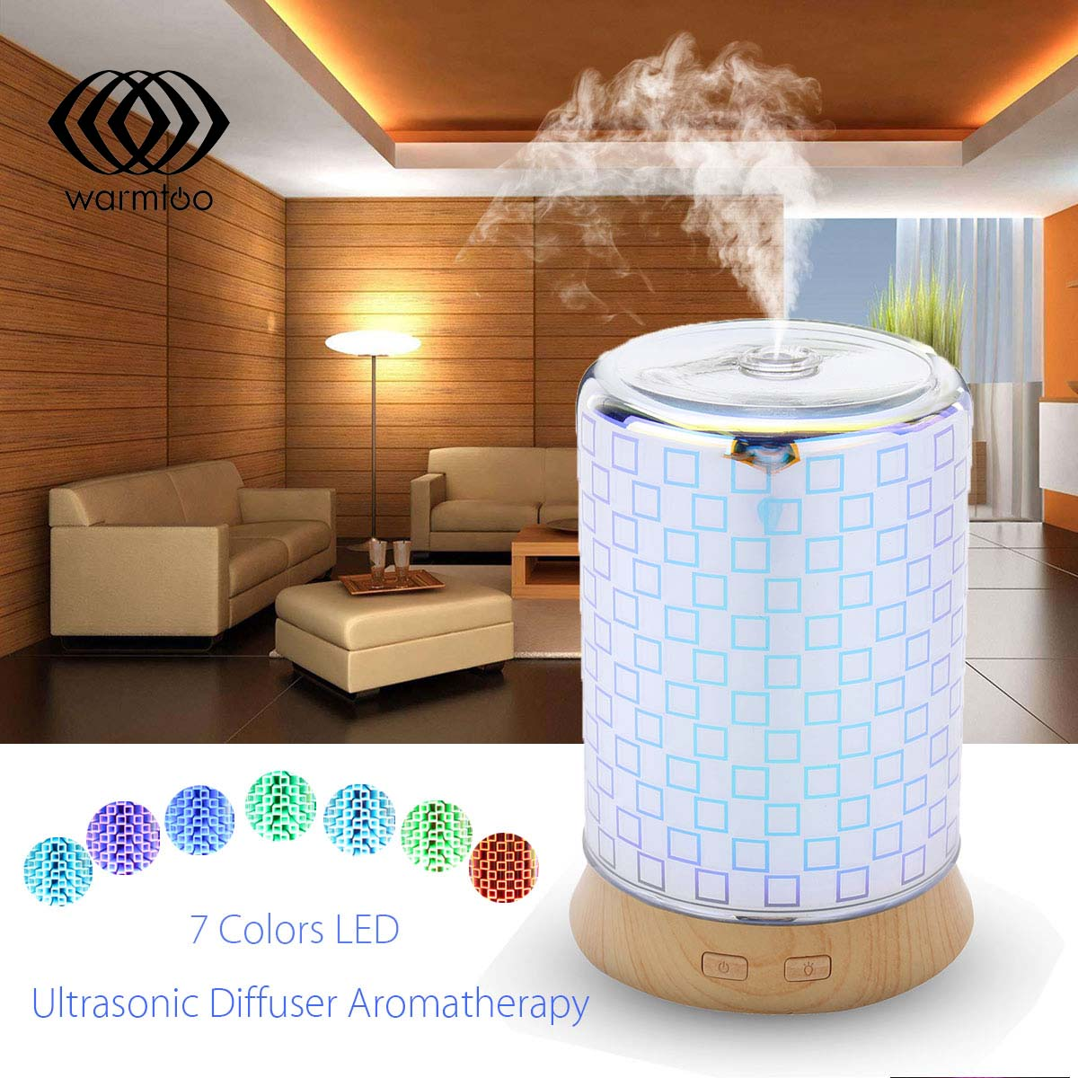 100ml 3D Effect Air Aroma Humidifier Essential Oil Aroma Diffuser Ultrasonic Aromatherapy Diffuser with 7 Color Lights Changing сувениры aroma garden лампа 3d волокно синий