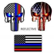 Reflective Thin Blue line Stickers - US Flag Punisher Skull Dark Night Decals American USA Vinyl (3 pack)