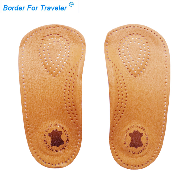 6ac407dc9b 3/4 length orthotic leather insole Half arch support orthopedic insoles  flat foot correct insert shoe pad