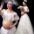 Real branco de renda vestido de fotografia adereços sessão de fotos de gravidez maternidade vestido longo camisola