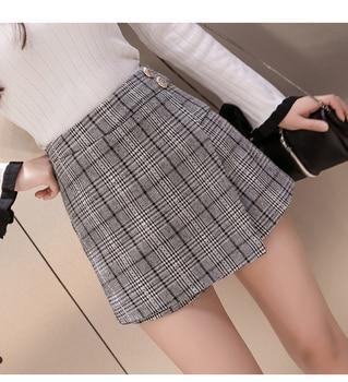 Qooth Woolen Short Pants Women Winter High Waist Plaid Shorts Skirts Elegant Irregular Ladies Office Work Shorts QH1716 Шорты