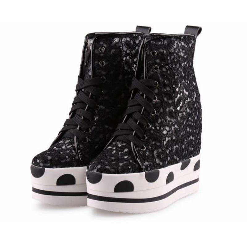 Summer Women Shoes Breathable Mesh Lace Up Height Increasing Wedges Casual Shoes Fashion Ultra High Platform Elevator Ankle Boot