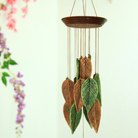 Aqumotic Leaves Bell Ceramic Big Wind Chimes Outdoor Feng Shui I Wind chime Hanger Mens Memorial Beautiful Nature Garden Decor