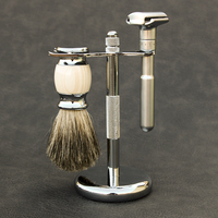 Classic Safety Razor With 100% Pure Badger Hair Shaving Brush With Stand Holder for Double Edge Straight Razor