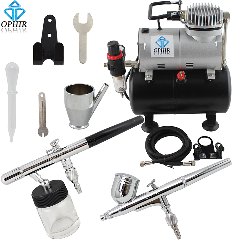 OPHIR Single-Action Airbrush & Dual-Action Airbrush Kit with Air Tank Compressor for Hobby Painting Wall Paint _AC090+004A+072 ophir professional dual action airbrush compressor kit with air tank for cake decorating model hobby tattoo  ac053 ac004 ac070