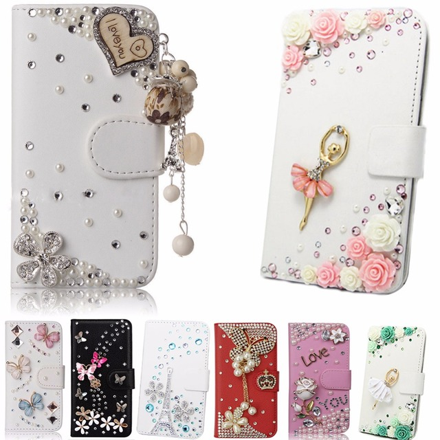 best website 2f315 73780 US $7.9 |Crystal Rhinestone flower Cute Phone Case For Alcatel Fierce 4/pop  4 plus,Luxury Bling Diamond Wallet Card Slots Leather Cover-in Rhinestone  ...